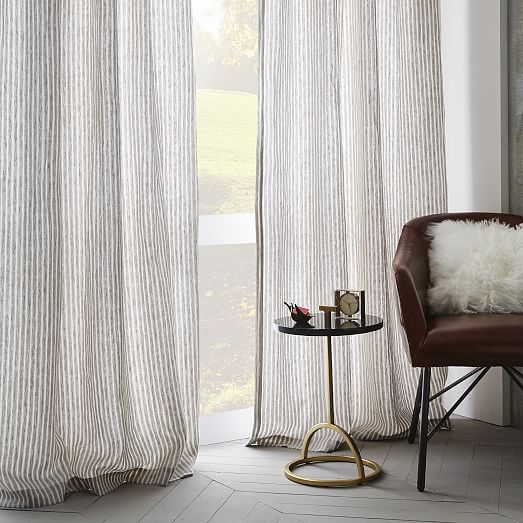 Striped Belgian Linen Curtain | west elm