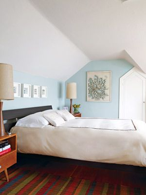 Light Blue Boudoir: This eco-friendly bedroom is a soothing retreat with organic cotton bedding that is soft to sleep on and washes easily.