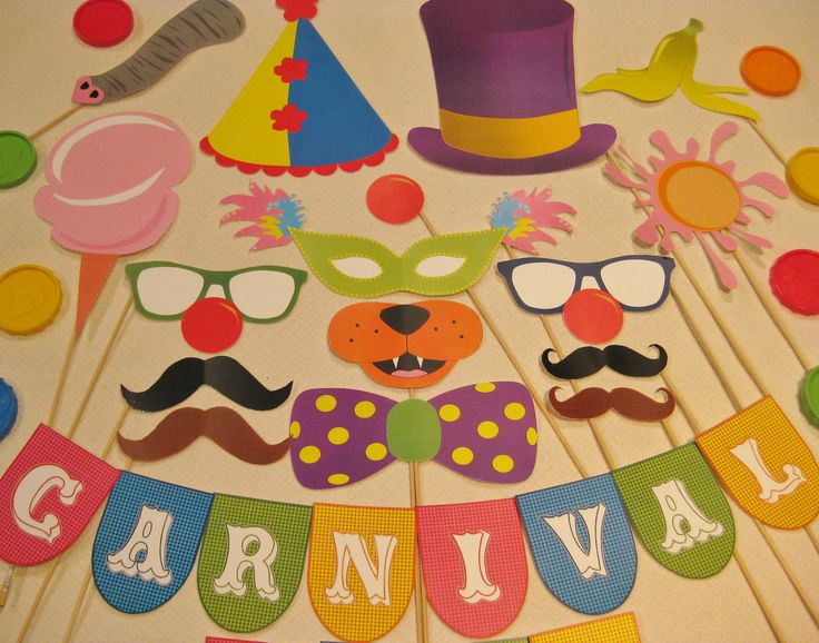Our party is going to have a carnival. So perfect. PDF - Circus / Carnival photo booth props/decorations/craft - printable DIY. $3.95, via Etsy.