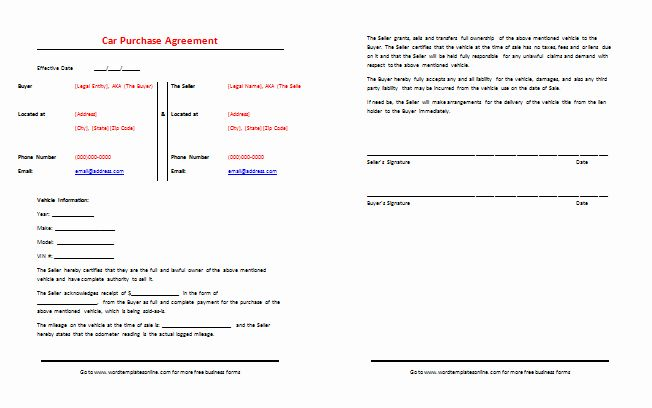 Private Sale Car Payment Agreement Inspirational Car Purchase Agreement Template Best Samples Car Purchase Purchase Agreement Car Payment