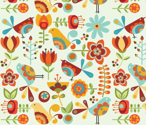 Folk Birds fabric by valentinaharper on Spoonflower - custom fabric