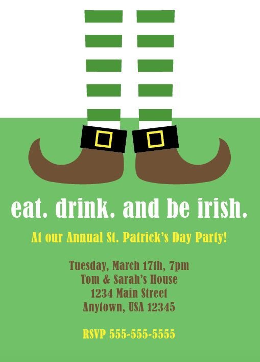 St. Patrick's Day Party, Leprechaun, Four Leaf Clover, Eat, Drink, Be Irish, Leprechaun Feet, Lucky, St. Patty, Theme Party, Personalized by NestedExpressions