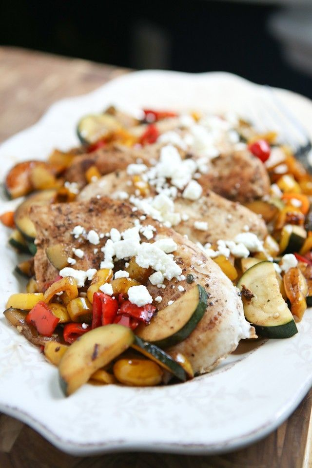 Skillet Balsamic Chicken with Sweet Peppers and Zucchini #balsamic #chicken #recipe