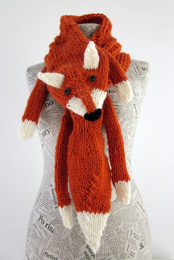 Knitting Pattern Fox Scarf : Hand knit fox scarf in red orange with polymer clay buttons, with ears and pa...