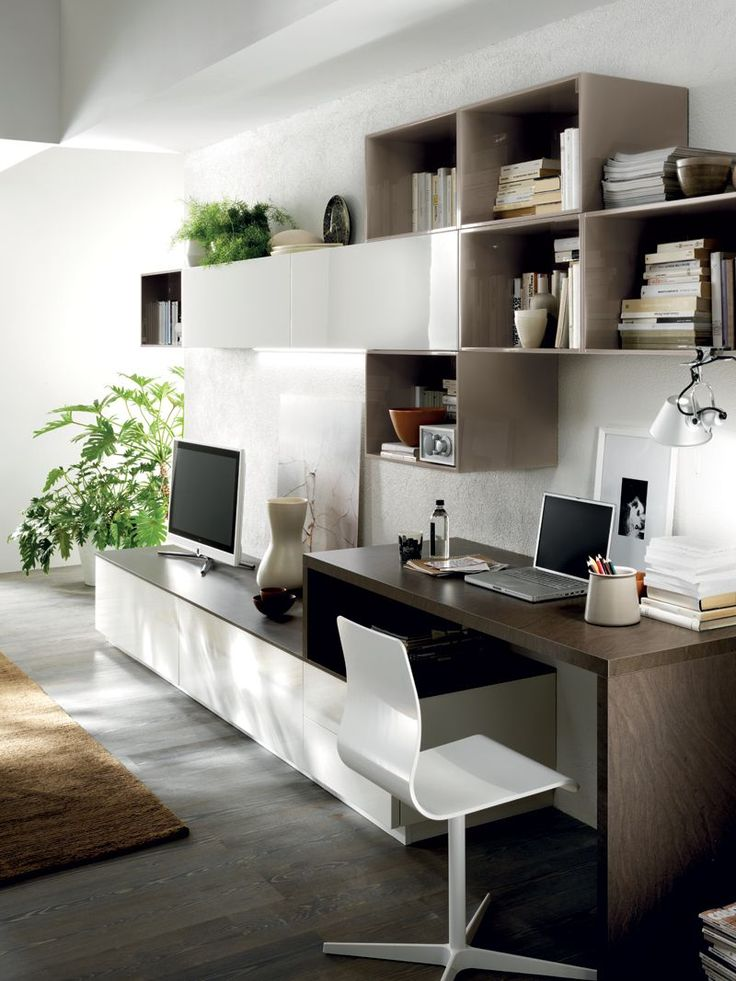 A #living area can also include a desktop for study and work
