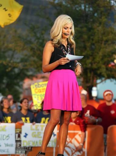 Samantha Steele -- love the bright pink skirt!