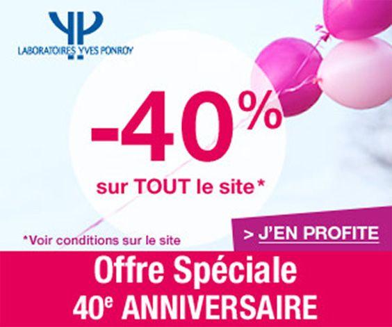 Pour fêter son 40ème anniversaire les Laboratoires Ponroy offre -40% de remise sur la quasi totalité de son catalogue. De plus, 3 codes promo permettant de bénéficier de remises de 10 à 20 euros et de la livraison gratuite dès 10 euros.
