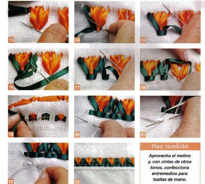Trançado com fitas - Tulipa