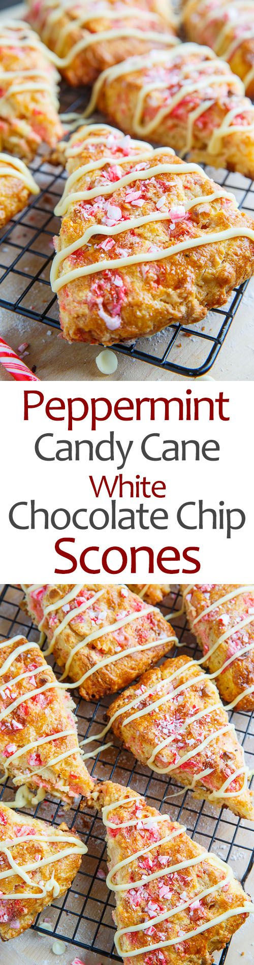 Peppermint Candy Cane and White Chocolate Chip Scones