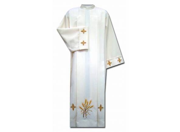 Alba litúrgica de poliéster con espigas de trigo bordadas / Liturgical white alb in polyéster  with spike embroidery (1/2) http://www.articulosreligiososbrabander.es/alba-sacerdotal-con-espigas-bordadas.html #AlbaLiturgica #Ornamento. The alb is a liturgical vestment worn by clergy at liturgical functions. Albs are based on the Greco-Roman tunic and symbolize the purity. #MassVestments #Mass