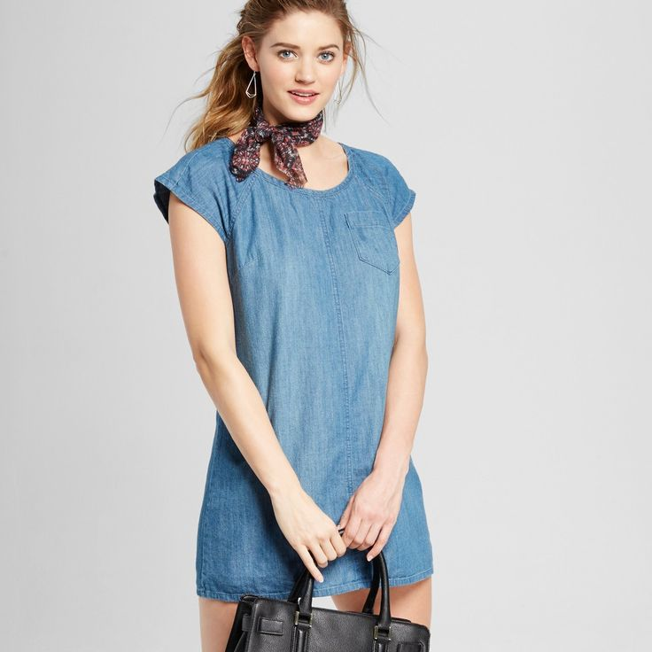 Women's Denim T-Shirt Dress - Merona Medium Indigo Xxl, Blue