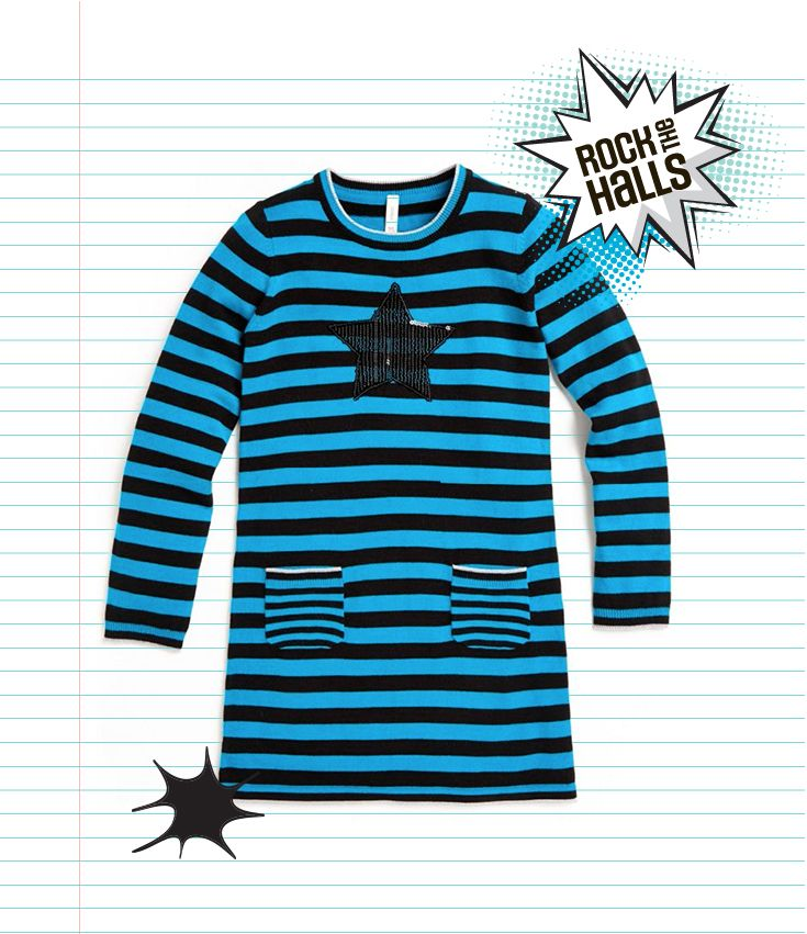 This striped sweater dress features a cute sequin applique and pockets