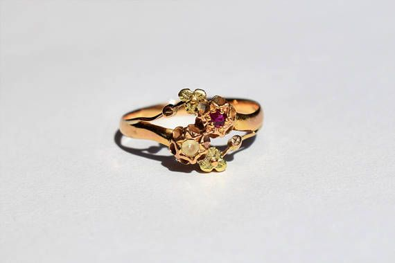 French Antique Toi et Moi Ruby Ring Vintage You and Me Ring