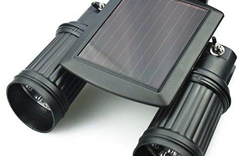 Lumière LED jardan,Drillpro Lampe Applique,Solaire Projecteur Lumiere double paysage Adjustable,200 Lumen,IP44 Certifié étanche,Détection…