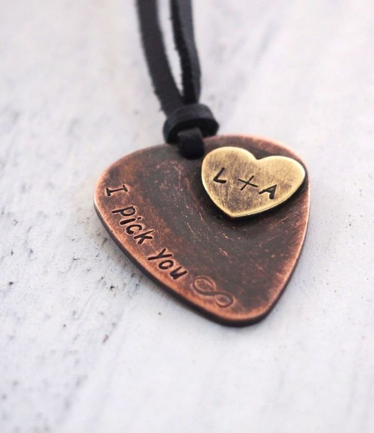 Custom Boyfriend necklace, boyfriend gift personalized, boyfriend necklace, rustic guitar pick neckl