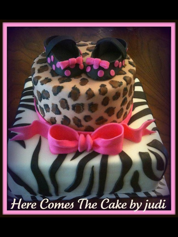 animal print baby shower cake love this for a girl