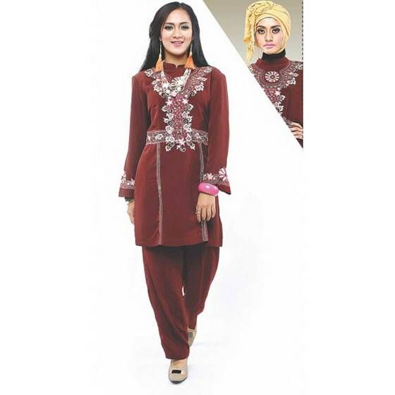 Baju tunik 2016 - Produk baju tunik muslim model terbaru bahan kelly warna marun cantik dan elegan. Trend harga jual baju tunik 2016 grosir online shop...