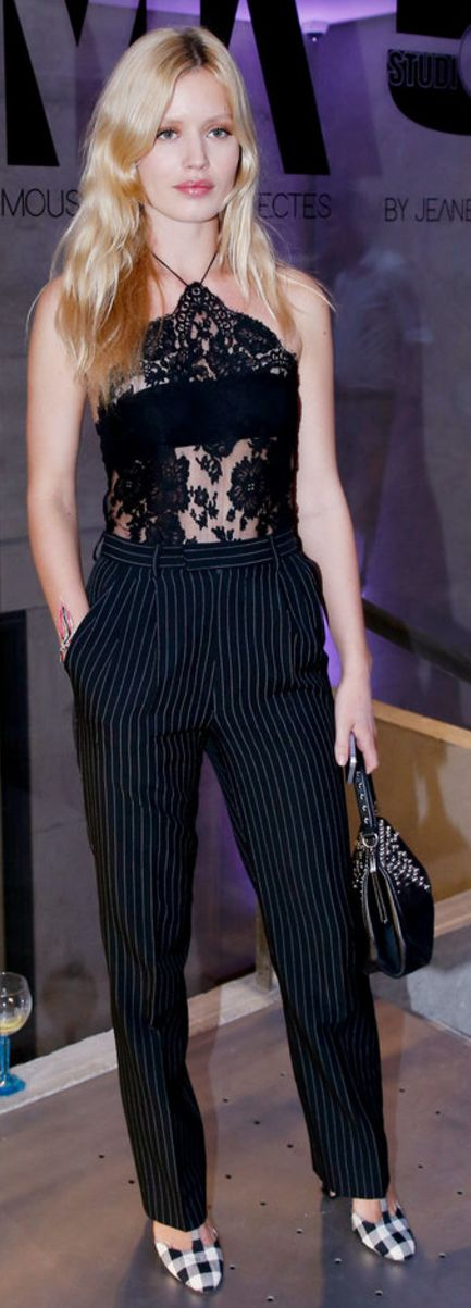 Who made Georgia May Jagger's black lace top?