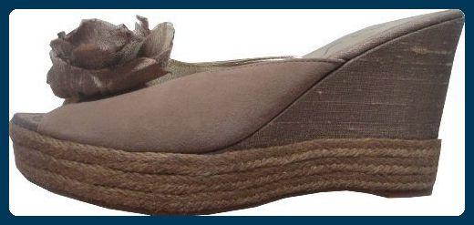Sandale von Unisa mit Zierblume aus Leder - Braun Gr. 40 - Sandalen für frauen (*Partner-Link)
