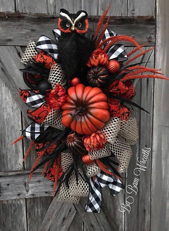 Halloween Owl Wreath Halloween Wreath Owl Wreath Fall