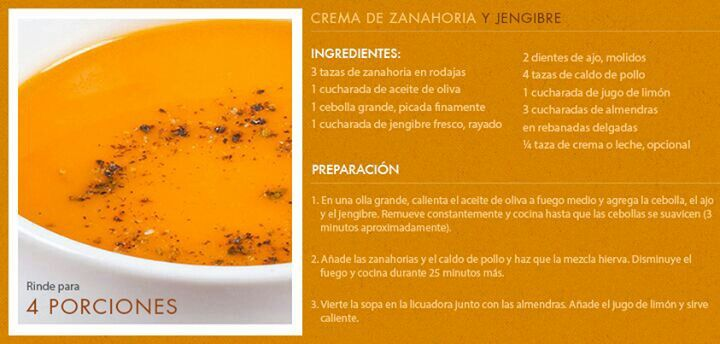 Sopas y Cremas - Crema de zanahoria y jengibre