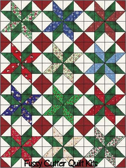 Scrappy Christmas Red Green Patchwork Fabrics Easy Pre-Cut Star Quilt Blocks Top Kit