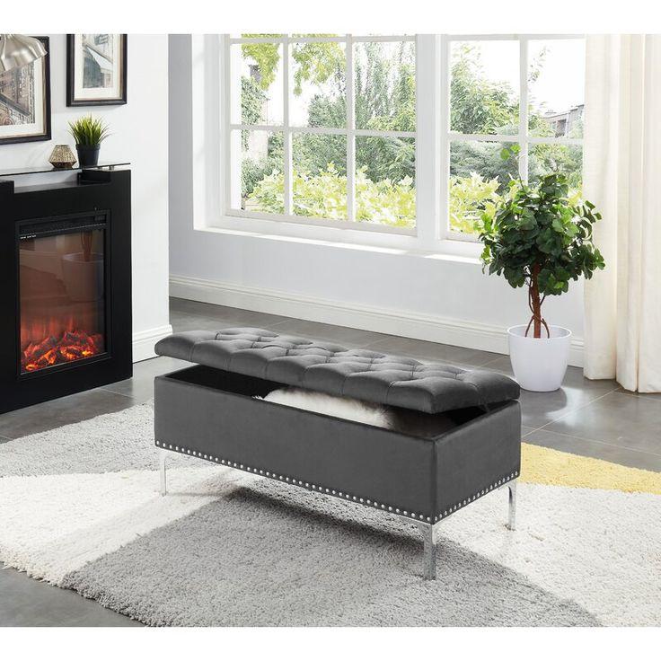 Carmel barrie upholstered flip top storage bench storage