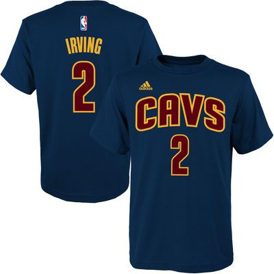 Youth Cleveland Cavaliers Kyrie Irving adidas Navy Blue Game Time Flat Name  \u0026 Number T-