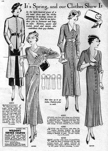 It's spring and clothes show it! (April 1933) #vintage #1930s #fashion…