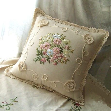 Beautiful Ribbon Embroidery Crochet Lace Cushion Cover