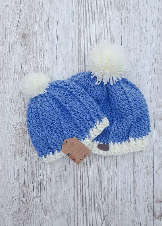 Crochet pom pom hat. Denim blue and cream hat with pom poms https://www.etsy.com/ie/listing/536160124/me-and-mini-me-denim-blue-and-cream-pom