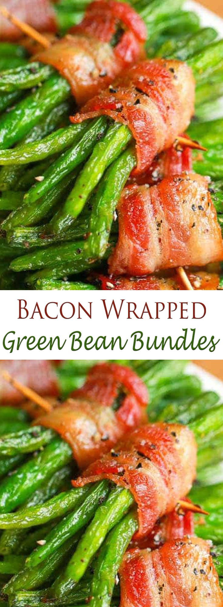 Bacon Wrapped Green Bean Bundles. #CompleteRecipes.com #recipe #recipes #food #foodgasm #cleaneating #healthyfood #healthy #healthyrecipes