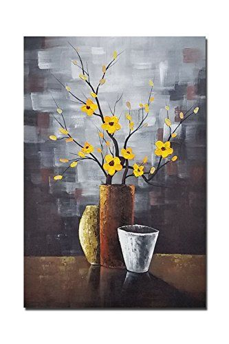 Wieco Art - Silent Beauty Modern 100% Hand-painted Artwork Contemporary Abstract Flower Oil Paintings on Canvas Wall Art for Wall Decorations Home Decor