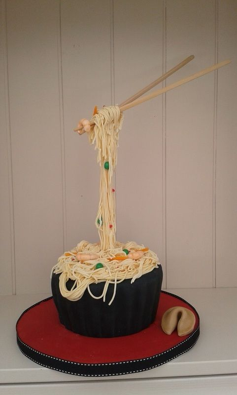 Gravity Defying Noodle cake with prawns, peas and Carrots