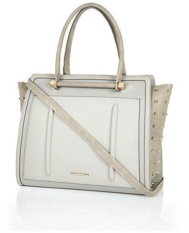 River Island Womens Grey studded tote bag