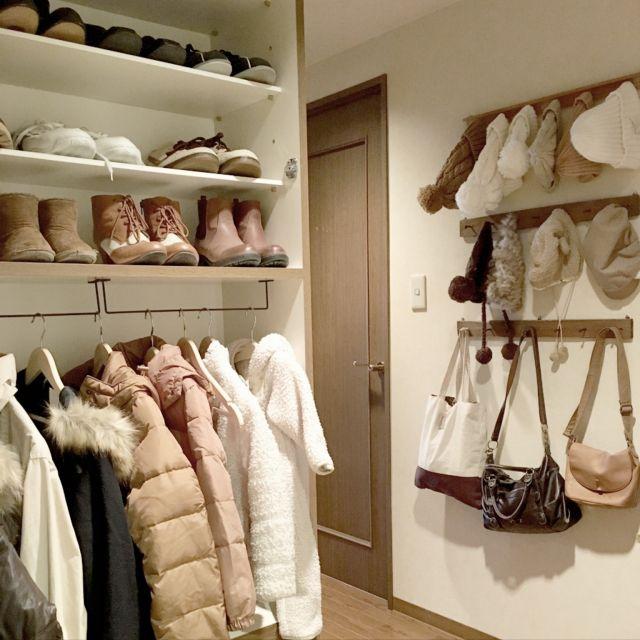 hinano1017さんの、玄関/入り口,クローゼット,DIY,洋服掛け,洋服収納,みせる収納,子供と暮らす,親子お揃い,イーザイーザッカマニア,のお部屋写真
