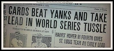 On this day in Cardinal Nation 10-05-1926, 37,708 fans packed Sportsman's Park to watch the Cardinals take on the New York Yankees in Game Three of the Fall Classic. Those fans witnessed the first World Series to be played in St. Louis in the modern era. cont..