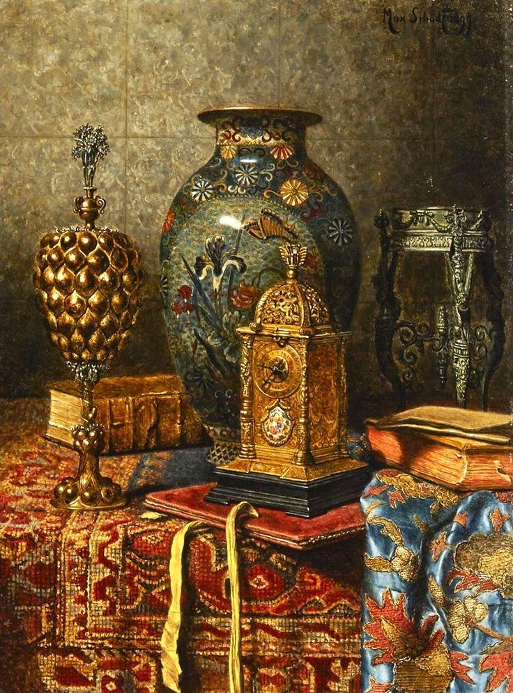 Max Schödl (1834-1921) —  Max Schödl Still Life with Cloisonne Vase, Clock and Pokal,  1899  (887×1200)