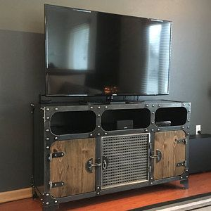 Modern Industrial Media Console | ANVIL | Steel TV Stand Cabinet Vintage | Entertainment Center | Audio | HiFi Retro