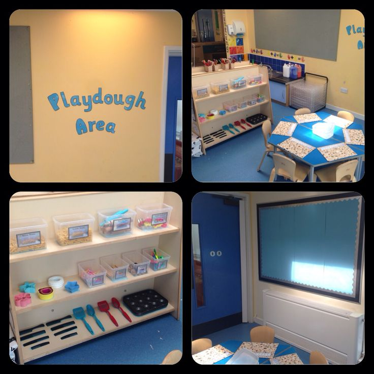 Playdough area equipped with a variety of pasta, cutters, buttons, candles, lollipop sticks, utensils, combs- all great for fine motor skills and for developing muscles in little hands. Add a display board for documentation.