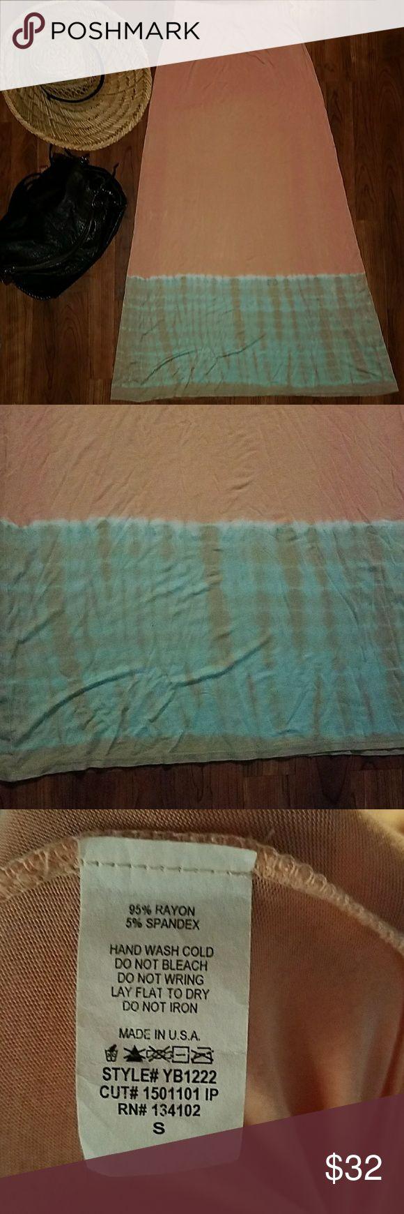 NEW♥Tie Dye Maxi Skirt Peach & Tiffany Blue/Small Brand New without Tags  Peach to Tiffany Blue  Size Small  Elastic waistband USA Skirts Maxi