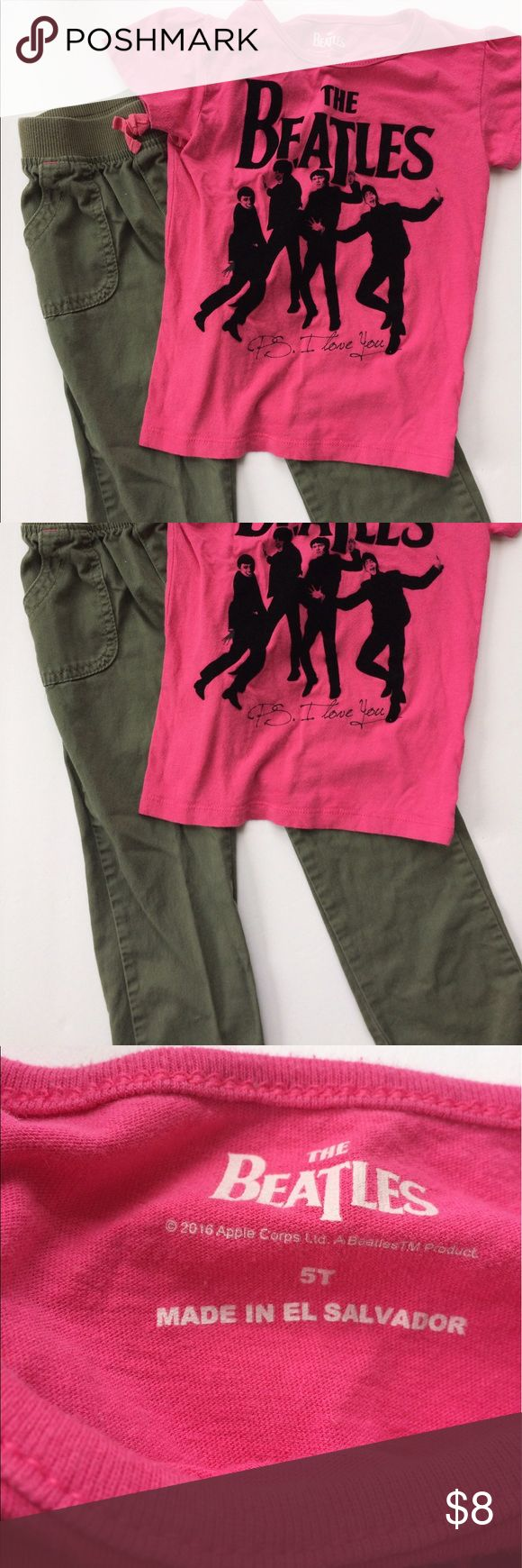 Girls Beatles outfit Beatles tee shirt and olive green khakis. Both 5t. Check out my other listings for a custom bundle! Shirts & Tops Tees - Short Sleeve