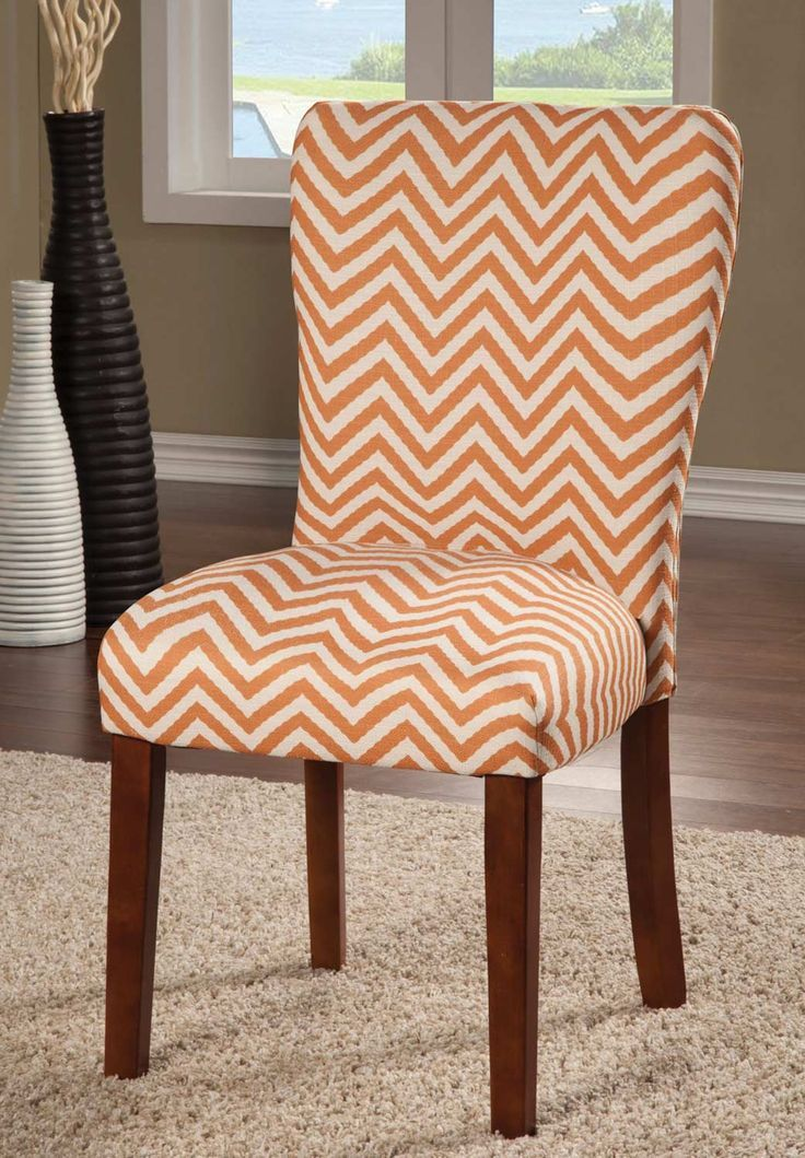 Montebello Chevron Patterned Parson Style Dining Chairs (Set Of