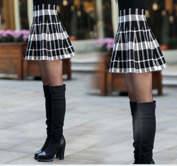 Zipper High Waist Short Mini Pleated Wool Plaid Skirt