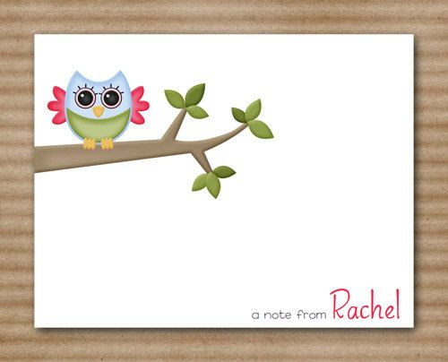 Owl Note Cards Personalized (set of 8). $12.00, via Etsy.