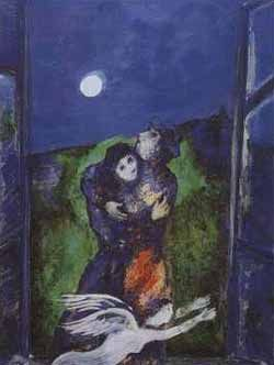 "Marc Chagall's painting Lovers in Moonlight..............................""Love  for the joy of loving, and not for the offerings of someone else's heart."" - Marlene Dietrich"