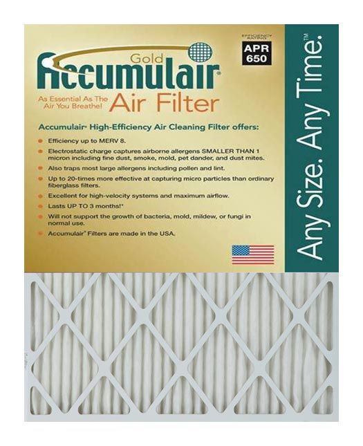 6.88x15.88x1 (Actual Size) Accumulsair Gold 1-Inch Filter MERV 8.0 Rating Each filter lasts up to 3 months.   Electrostatic charge captures airborne allergens SMALLER THAN 1 micron including fine dust, smoke, dander, mold, pet dander and dust mites. Also traps most large allergens including pollen and lint. Up to 20.0-times more effective at capturing micro particles than ordinary fiberglass filters. Designed for uniform air flow.