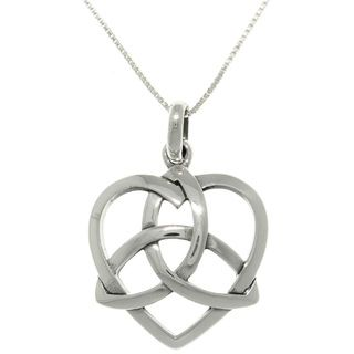 CGC Sterling Silver Celtic Trinity Heart Necklace