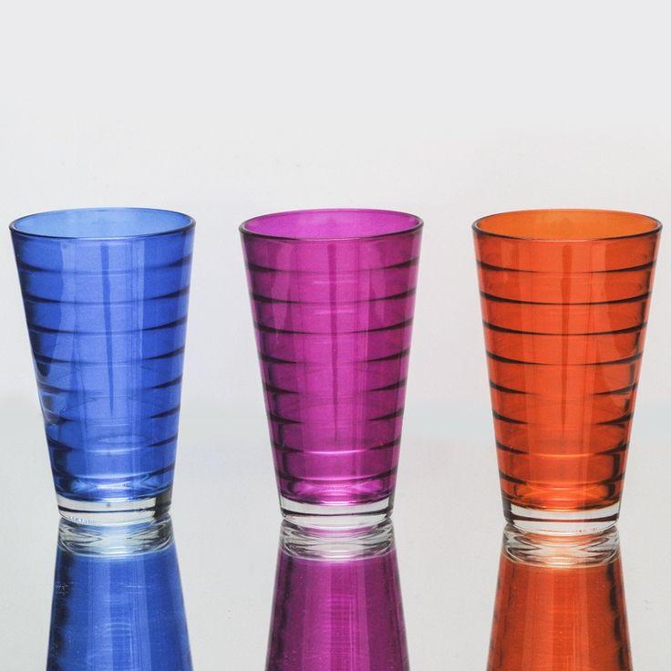 Σετ 6 τεμαχίων ποτήρια του νερού-χυμού, γυάλινα σε 3 διαφορετικά χρώματα: μπλε ρουά, φούξια και πορτοκαλί, από τη σειρά Conic Bibita Ring.