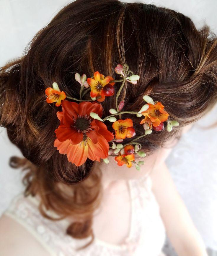 fall wedding, hair clip, autumn wedding, fall flower, hair accessory - WILDWOOD BRAMBLE - burnt orange flower. $48.00, via Etsy.